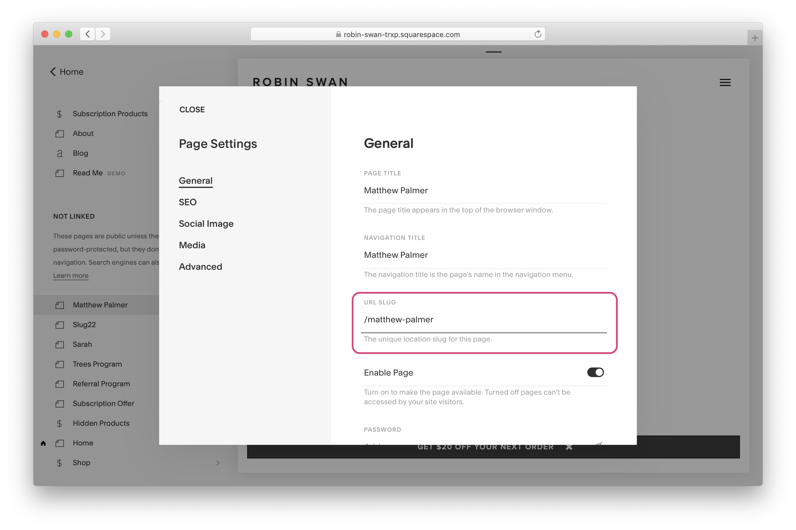 Settings page in Squarespace